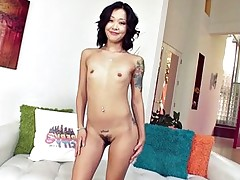 Cute brunette Asian slut gets her throat fucked..
