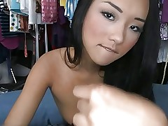 Hot asian slut sucks white cock and swallows