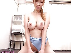 Japanese beauty Tia Bejean fucked in swimsuit